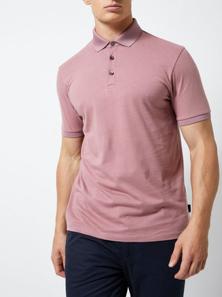Starorúžové polo tričko Burton Menswear London