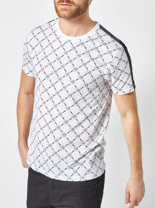Biele vzorované tričko s pruhom na ramenách Burton Menswear London