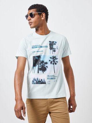 Světle zelené tričko s potiskem Burton Menswear London