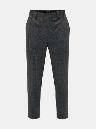 Šedé kockované skrátené tapered fit nohavice Selected Homme