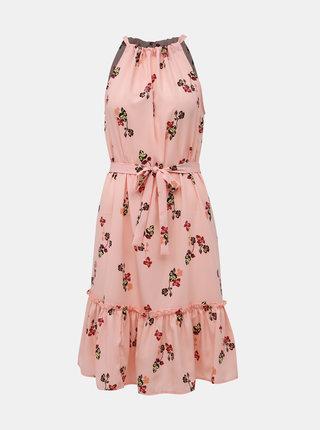 Rúžové kvetované šaty VERO MODA Carina