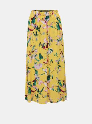 Žlutá květovaná maxi sukně VERO MODA Simply