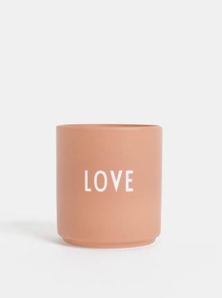 Starorúžová porcelánová dóza Design Letters Love 300 ml