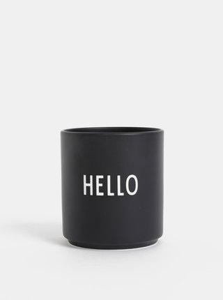 Černý porcelánový hrnek Design Letters Hello 300 ml