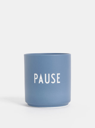 Modrý porcelánový hrnek Design Letters Pause 300 ml