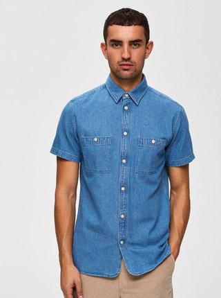 Modrá drifľová košeľa Selected Homme Vincent