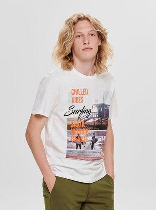 Biele tričko s potlačou ONLY & SONS Layrence