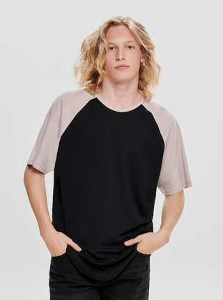 Fialovo-čierne basic tričko ONLY & SONS Logan