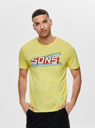 Žlté tričko s potlačou ONLY & SONS Pace