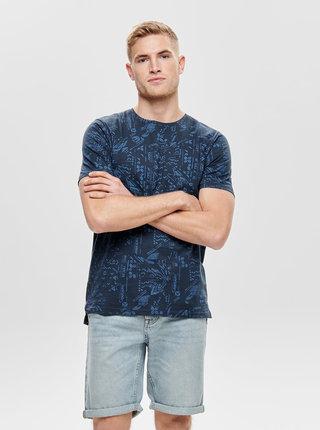 Tmavomodré vzorované slim fit tričko ONLY & SONS Next