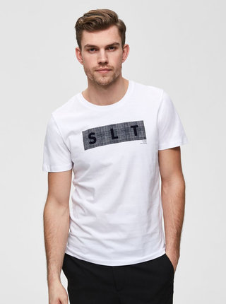Biele tričko s potlačou Selected Homme Print