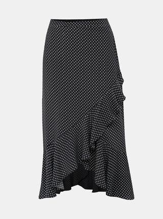 Čierna vzorovaná midi sukňa s volánom Dorothy Perkins