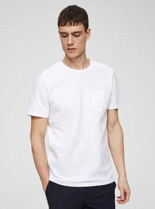 Bílé tričko s kapsou Selected Homme Wave