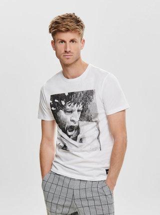 Biele tričko s potlačou ONLY & SONS Jagger