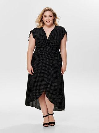 Černé puntíkované zavinovací šaty ONLY CARMAKOMA Taylor