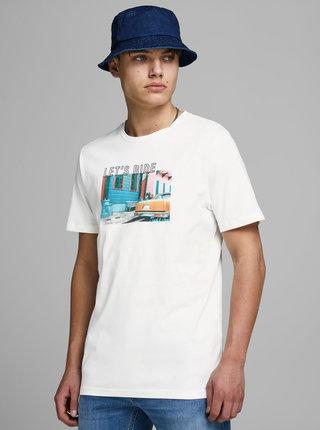 Bílé tričko s potiskem Jack & Jones Huward