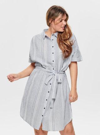 Svetlošedé pruhované košeľové šaty ONLY CARMAKOMA Naomi