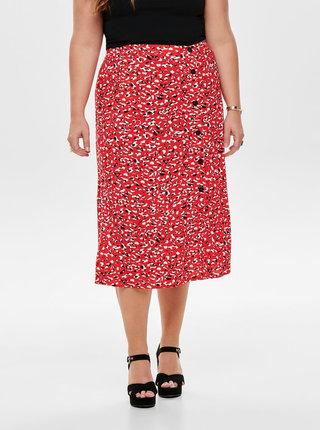 Červená vzorovaná midi sukňa ONLY CARMAKOMA Kinea