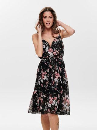Čierne kvetované plisované šaty ONLY Thea