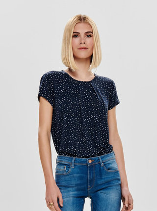 Tmavomodré bodkované tričko s prestrihom na chrbte ONLY Nice