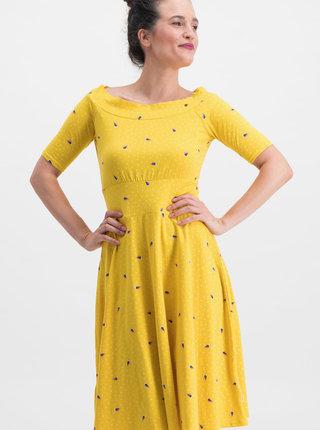 Žlté vzorované šaty Blutsgeschwister Roswitas Dolcevita