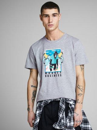 Šedé tričko s potlačou Jack & Jones Funny Mal