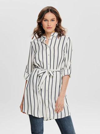 Modro–biele pruhované košeľové šaty ONLY Mira