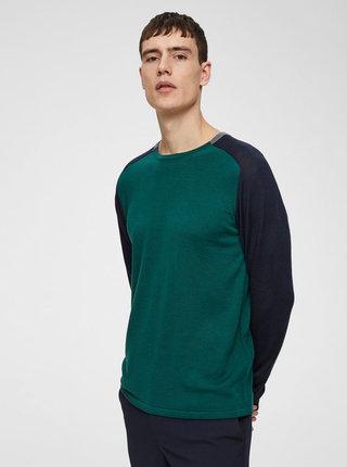 Pulover verde inchis lejer din lana merino Selected Homme Thom
