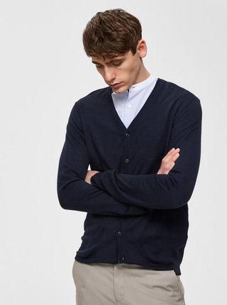 Cardigan albastru inchis din lana merino Selected Homme Thom