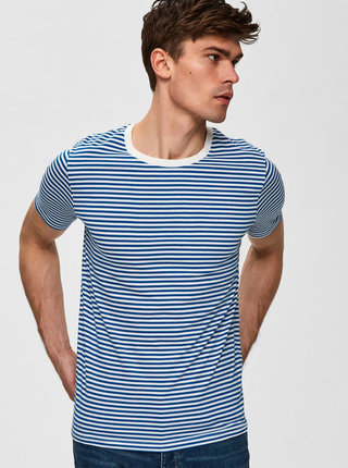 Tricou alb-albastru in dungi Selected Homme The Perfect