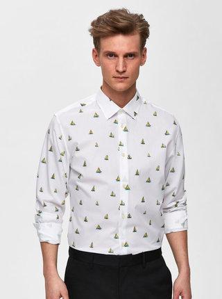 Bílá vzorovaná slim fit košile Selected Homme Pen