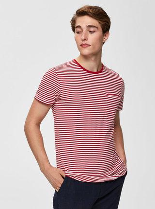 Tricou rosu in dungi cu buzunar la piept Selected Homme Tim