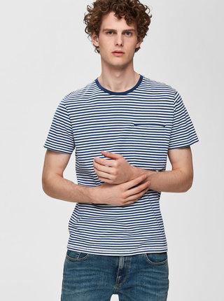 Tricou albastru-alb in dungi cu buzunar Selected Homme Tim