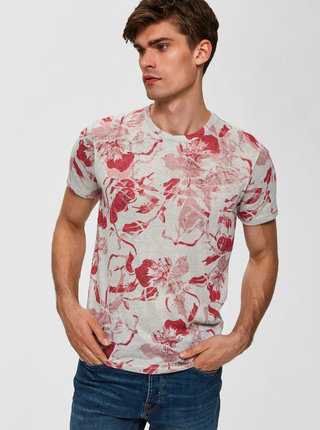 Ružovo–sivé kvetované tričko Selected Homme Matthew