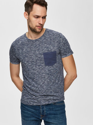 Modré melírované tričko Selected Homme Jack