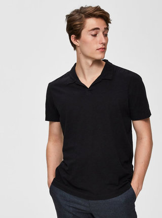 Tricou polo negru Selected Homme Fillipe