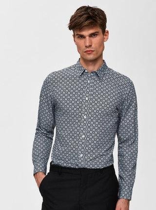 Čierna vzorovaná slim fit košeľa Selected Homme Rollo