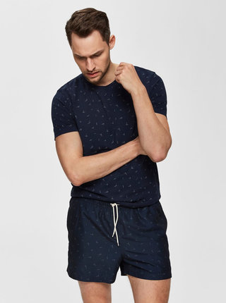 Tmavě modré vzorované tričko Selected Homme Oliver