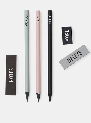 Sada tří tužek, dvou gum a malého zápisníku Design Letters