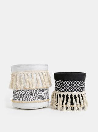 Sada dvou dekorativních košů v krémové a černé barvě SIFCON