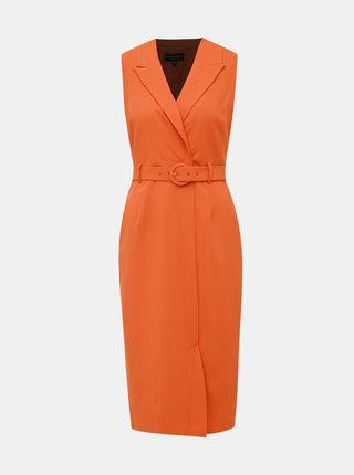 Oranžové pouzdrové midišaty Dorothy Perkins