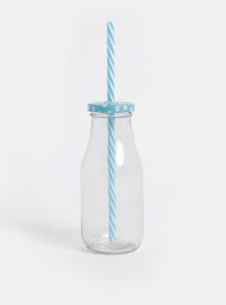 Pohár na nápoj s modrým viečkom a slamkou SIFCON