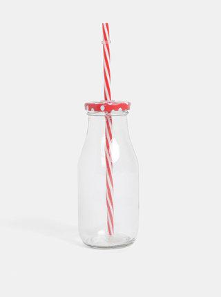 Pohár na nápoj s červeným viečkom a slamkou SIFCON