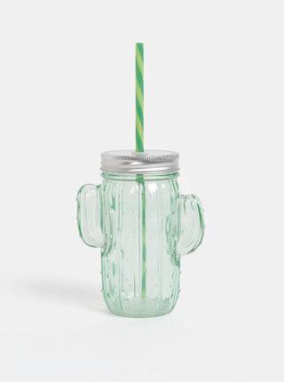 Světle zelená sklenice ve tvaru kaktusu SIFCON
