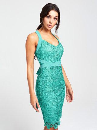 Zelené krajkové šaty s odhalenými zády Paper Dolls