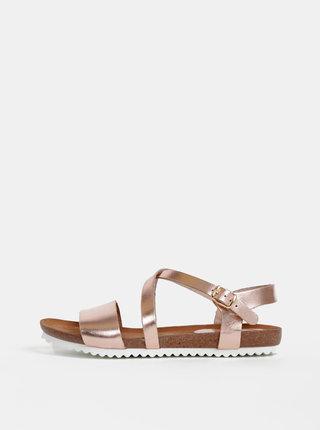 Kožené sandále v rúžovozlatej farbe OJJU