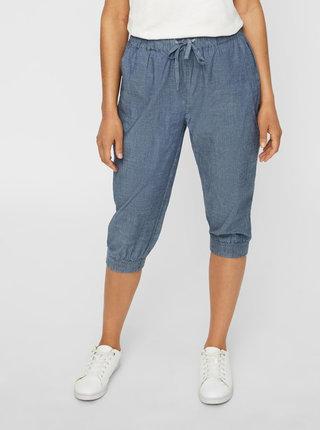 Modré 3/4 kalhoty s vysokým pasem VERO MODA Emilia