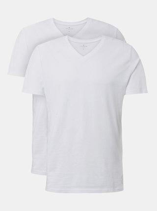 Sada dvoch bielych pánskych basic tričiek Tom Tailor