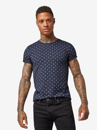 Tmavě modré pánské vzorované tričko Tom Tailor Denim