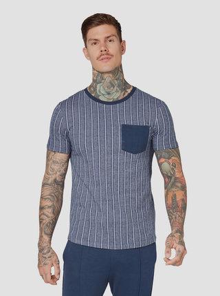 Tmavě modré pánské pruhované tričko s kapsou Tom Tailor Denim